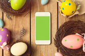 Smartphone mock up template for easter — Stok fotoğraf