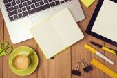 Laptop, notebook and tablet — Stock Photo