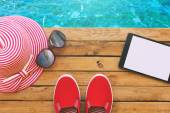 Summer holiday vacation essential objects — Stock Photo