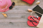 Summer holiday background with beach items — Stock Photo
