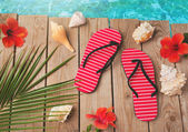 Flip flops and hibiscus flowers — Stock Photo