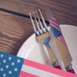 Table place setting for 4th of July — Stock Photo #72889797