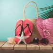Flip flops and summer bag — Stock Photo #72887339