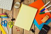 Back to school background with notebook — Stock Photo