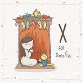 Letter X of Alphabet Christmas — Stock Vector
