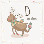 Letter D of Alphabet Christmas — Stock Vector