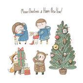 Christmas set of children — Vecteur