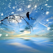 Winter landscape with bird on twig — Stock Photo