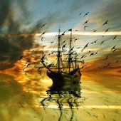 Sailboat and birds — Stock Photo