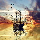 Sailboat during sunrise — Stock Photo