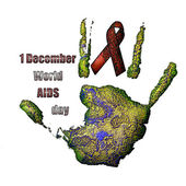 AIDS red ribbon sign and hand print — Stock Photo