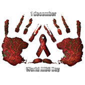 AIDS red ribbon sign in hands — Stock Photo