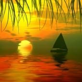 Sunrise landscape with boat — Stock Photo