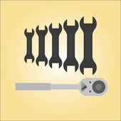 Silhouettes of keys tool — Stock Vector