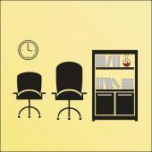 Office scene illustration over color background — Stock Vector