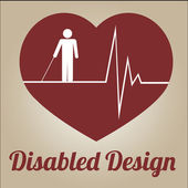 Disabled illustration or poster over color background — Vector de stock