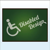 Disabled illustration or poster over color background — Stock Vector