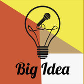 Big idea bulb over color background — Vector de stock