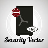 Strong box security sistem for web or computer vector over gray — Stock Vector
