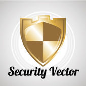 Shield security sistem for web or computer vector over gray colo — Stock Vector