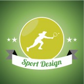 Silhouette of tennis player over green color background — Stock Vector