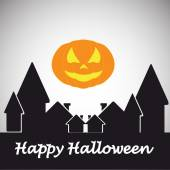 Happy halloween vector over color backround — Stock Vector