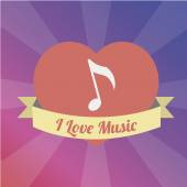 Musical note Love to the music illustration over color backgroun — Stock Vector