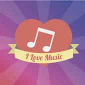 Musical note Love to the music illustration over color backgroun — Stockvektor