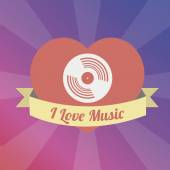 Baffle Love to the music illustration over color background — Stock Vector