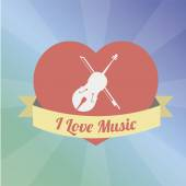 Love to the music illustration over color background — Stock Vector