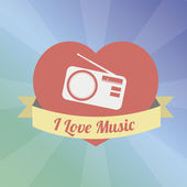 Radio Love to the music illustration over color background — Stock Vector