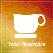 Coffee cup illustration orange color background — Stock Vector