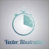 Clock blue over gray color background — Vecteur