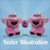 Robota plakát pár na modrém pozadí — Stock vektor