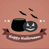 Happy halloween illustrator over color background — Stock Vector