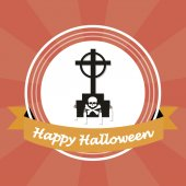 Happy halloween illustrator over color background — Stockvector