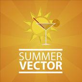 Summer vacation over orange color background — 图库矢量图片