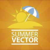 Summer vacation over orange color background — Stock Vector