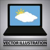 Weather situation like a laptop screensaver — Stock Vector