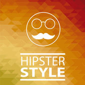 Hipster poster over orange background — Stock Vector