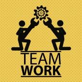 Team work illustration over color background — Stock Vector