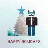 Happy holidays hipster over blue gradient background — Stock Vector