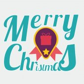 Merry Christmas illustration over color background — Stockvektor