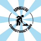 Under construction illustration over color background — Wektor stockowy