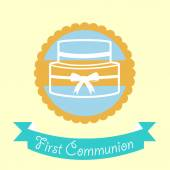 First Communion illustration over color background — Stock Vector