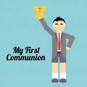 My first communion illustration over blue background — Stockvektor