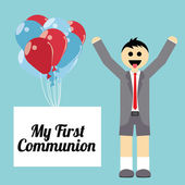 My first communion illustration over blue background — Vector de stock
