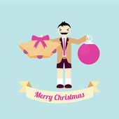 Christmas Illustration over color background — Vetor de Stock