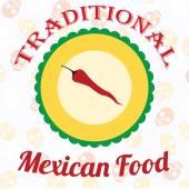Mexicaans eten illustratie over kleur achtergrond — Stockvector