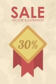 Sale stamp illustration over color background — Stock Vector